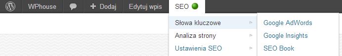 Górny pasek administracyjny WordPress