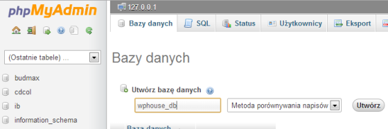 Nowa baza danych wphpMyAdmin