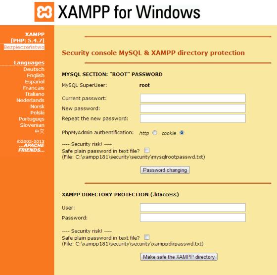 Ustawienia bezpieczeństwa XAMPP
