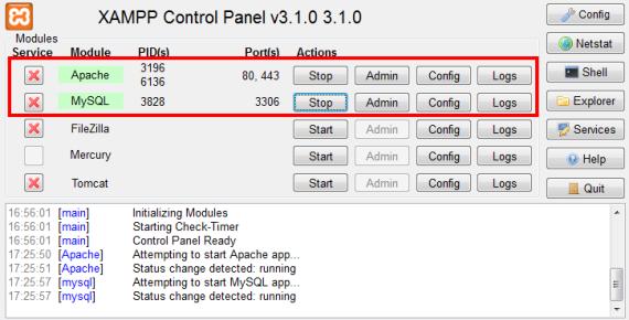 Panel XAMPP - serwer włączony