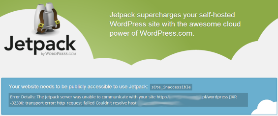Jetpack - błąd Site_inaccessible
