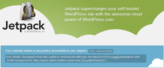 Jetpack - błąd Site_inaccessible