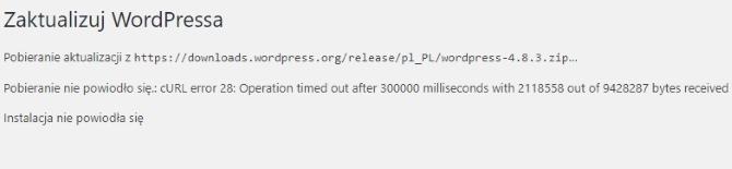 Błąd przy automatycznym aktualizowaniu WordPress