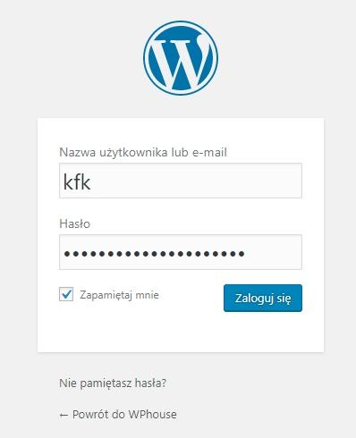 Strona logowania do panelu administracyjnego WordPress