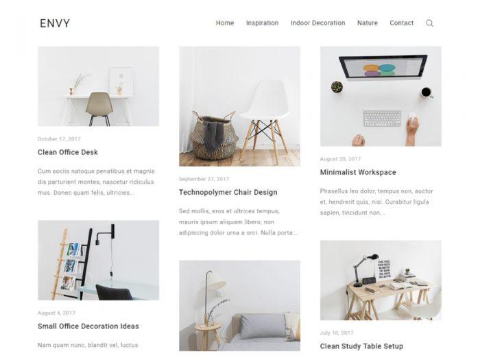 Darmowy motyw WordPress - Envy - Styczeń 2018
