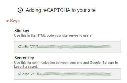 2 klucze reCAPTCHA do integracji z wtyczką Contact Form 7