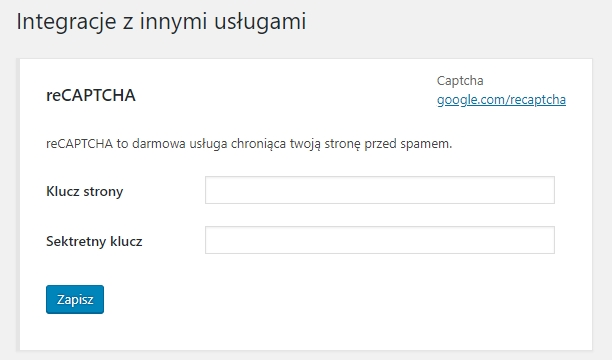 Prosta integracja Contact Form 7 z reCAPTCHA za pomocą 2 kluczy