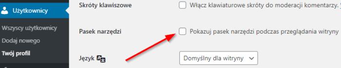 Opcja wyłączenia paska narzędziowego wpanelu administracyjnym WordPress